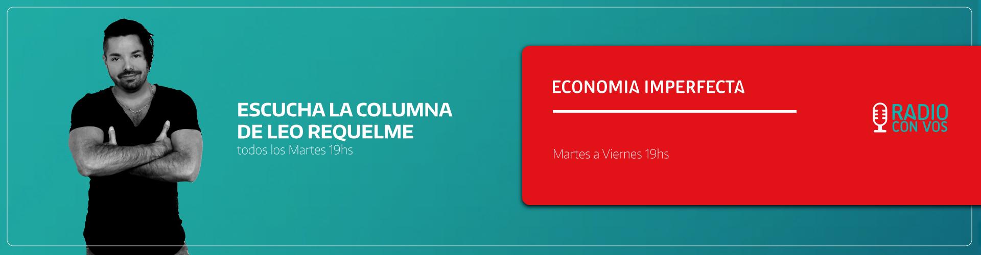 Banner publicitario Leo Requelme en Radio, Escucha su columna en Radio Con Vos.